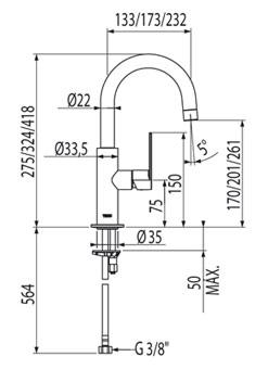 Altura de un lavabo good vilstein sifn desage u tubo de for Altura de lavabo suspendido