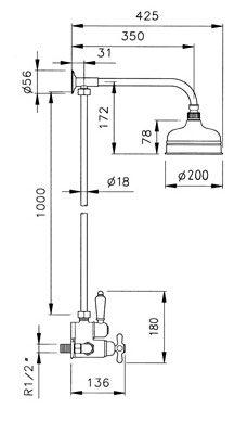 Sistemas de ducha con gran rociador ramon soler for Medidas de duchas para banos