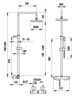 Sistemas de gran ducha termost ticos con gran rociador - Medidas de duchas ...
