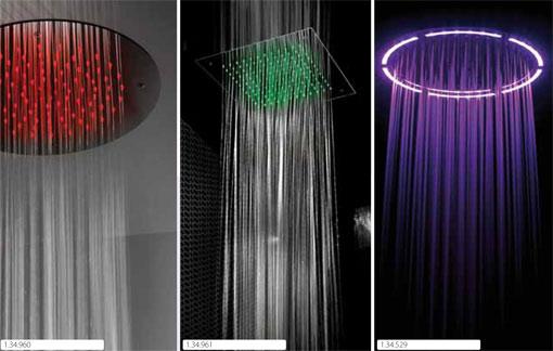 rociadores de ducha para empotrar a techo con luces de leds en diferentes colores tres